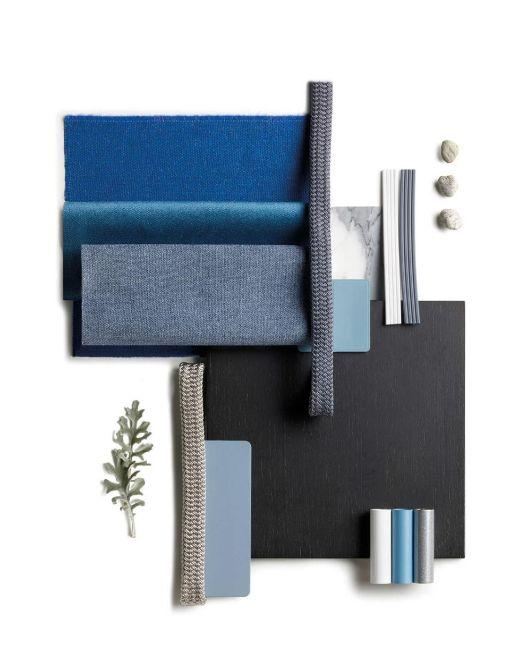Moodboard blu e grigio