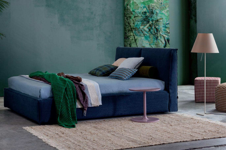 letto Ada Twils, in lino blu